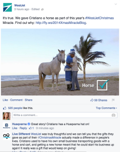 WestJet FB Engagement